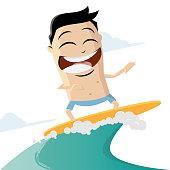 funny cartoon illustration of a surfing man