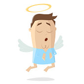 funny cartoon illustration of an angel