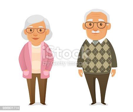istock funny cartoon illustration of an elderly couple 936901714