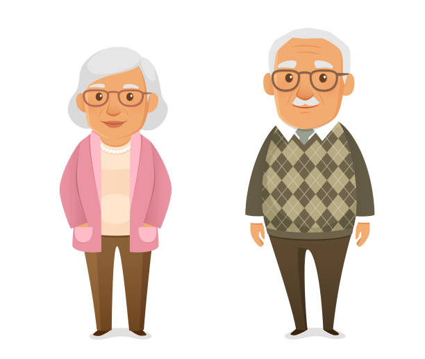 ilustrações de stock, clip art, desenhos animados e ícones de funny cartoon illustration of an elderly couple - old lady