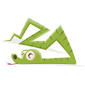funny cartoon illustration of green snake