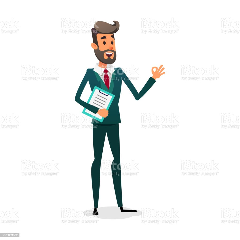 Funny cartoon investor showing ok sign. The manager is in a suit with a beard. Design for business vacancy vector art illustration
