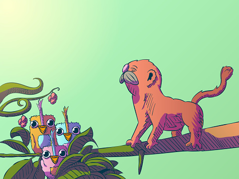 Funny cartoon jungle illustration - Cute birds and monkey on a branch.