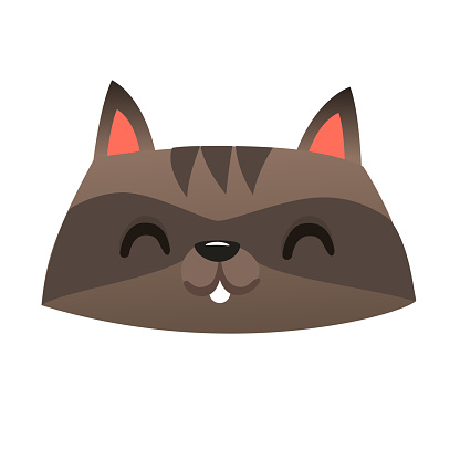 Funny cartoon laughing raccoon head icon. Vector illustration. Design for print or children book illustration