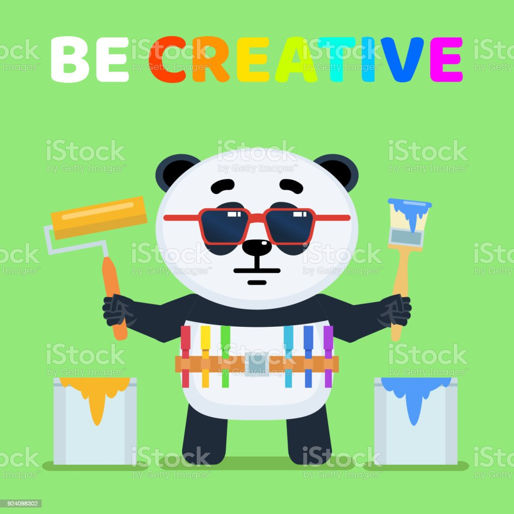 Komik Karikatür Küçük Panda Holding Boya Fırça Ve Boya Silindiri