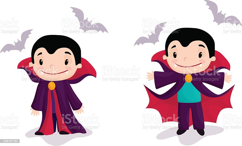 Funny cartoon little vampire, boy wearing Halloween costume, vector illustration vector art illustration