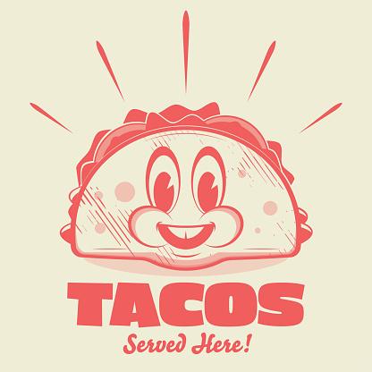 funny cartoon logo of a happy taco