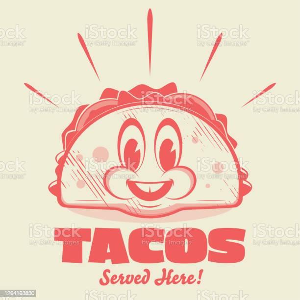 lustige Cartoon-Logo eines glücklichen Taco - Lizenzfrei 1950-1959 Vektorgrafik