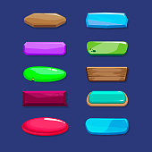 Funny cartoon long horizontal buttons set, vector assets for game or web design