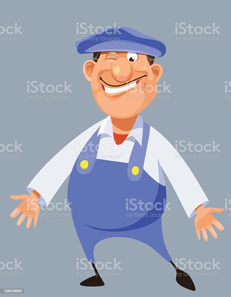 funny cartoon male worker in blue overalls and cap royalty-free funny cartoon male worker in blue overalls and cap stock vector art & more images of bib overalls