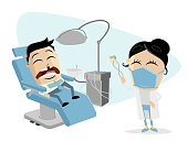 funny cartoon man at the dentist