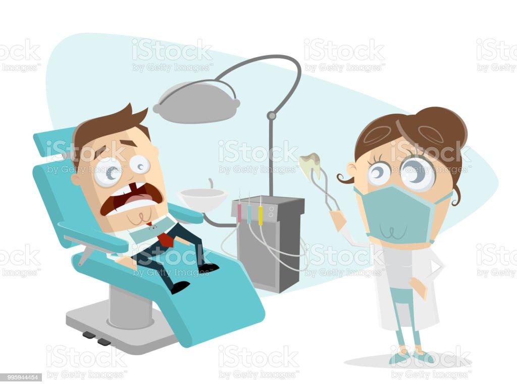 Funny Cartoon Hospital Pics funny cartoon man at the dentist stock illustration