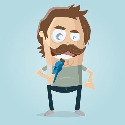 funny cartoon man needs a haircut