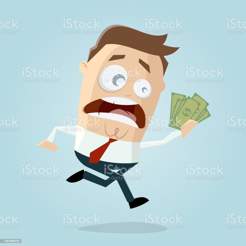 funny cartoon man wants to take his money vector art illustration