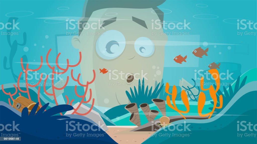 funny cartoon man watching in an aquarium vector art illustration