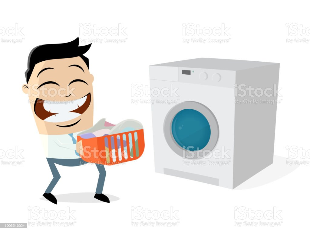 funny cartoon man with dirty laundry and washing machine vector art illustration