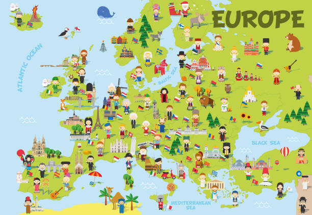 Funny cartoon map of Europe with childrens of different nationalities, representative monuments, animals and objects of all the countries. Vector illustration for preschool education and kids design. Funny cartoon map of Europe with childrens of different nationalities, representative monuments, animals and objects of all the countries. Vector illustration for preschool education and kids design. continent geographic area stock illustrations