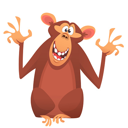Funny cartoon monkey chimpanzee.  Isolated. Vector illustration