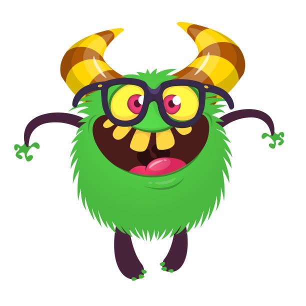 Lustige Monster Zeichentrickfigur in Brillen.  ClipArt – Vektorgrafik