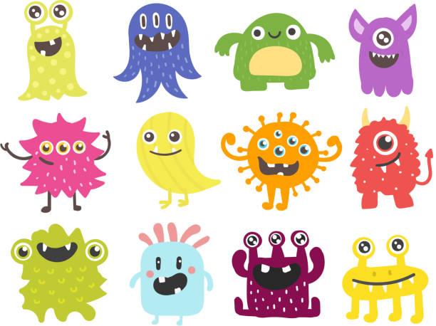 lustige cartoon monster niedliche außerirdische charakter wesen glücklich abbildung teufel bunte tier vektor - monster stock-grafiken, -clipart, -cartoons und -symbole