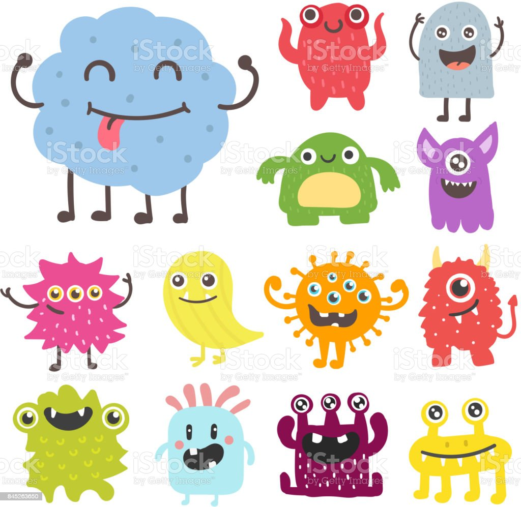 Desenho animado monstro bonito personagem alienígena criatura feliz ilustração diabo colorido animal vector - ilustração de arte em vetor