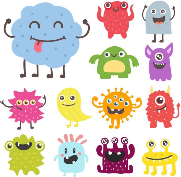 ilustraciones, imágenes clip art, dibujos animados e iconos de stock de ilustración de dibujos animados divertido monstruo lindo personaje extraterrestre criatura feliz diablo colorido vector animal - monstruo