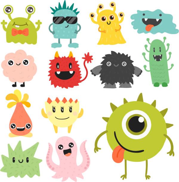 ilustrações, clipart, desenhos animados e ícones de desenho animado monstro bonito personagem alienígena criatura feliz ilustração diabo colorido animal vector - monstro