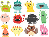 Funny cartoon monster cute alien character and creature happy illustration devil colorful animal vector. Halloween cool gesture face bacteria or comic viruses.