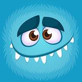 Funny cartoon monster face. Vector illustration of blue creepy monster avatar