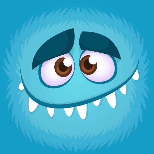 lustige cartoon monster gesicht. vektor-illustration von blauen gruselige monster avatar - cartoon monster stock-grafiken, -clipart, -cartoons und -symbole