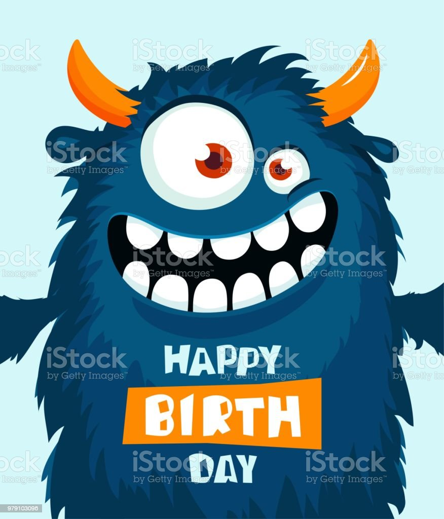 Funny Cartoon Monster Happy Birthday Cute Design Royalty Free