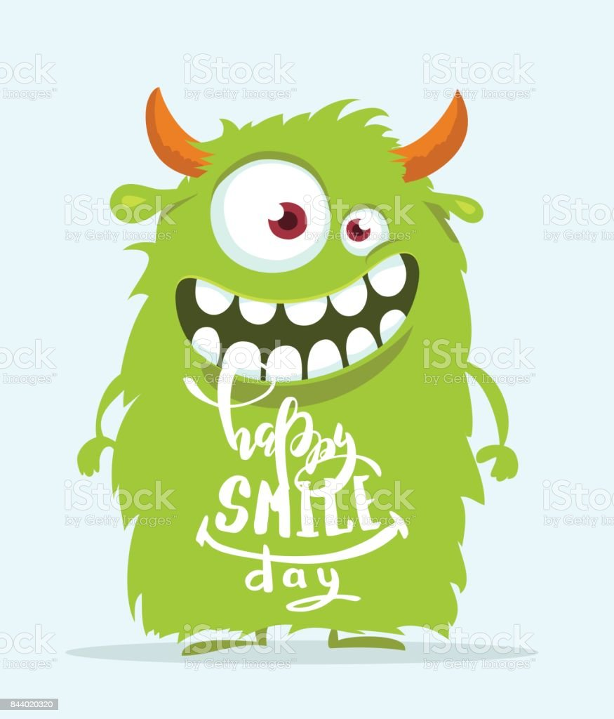 Funny cartoon monster. Happy smile day cute design. vector art illustration
