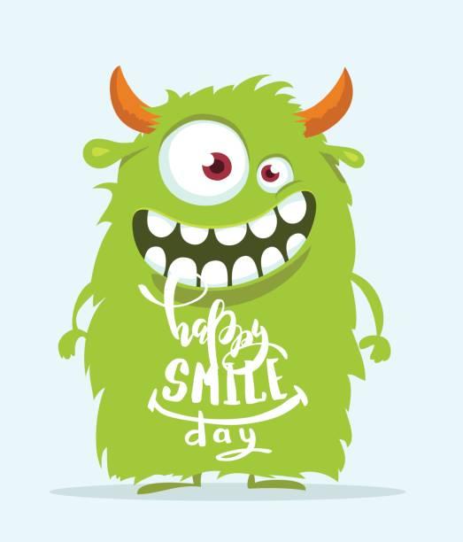 ilustraciones, imágenes clip art, dibujos animados e iconos de stock de monstruo divertido de la historieta. diseño lindo del día de la sonrisa feliz. - monstruo