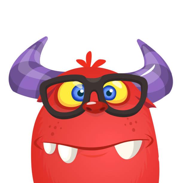 lustige cartoon monster nerd brillen tragen - markenbrillen stock-grafiken, -clipart, -cartoons und -symbole