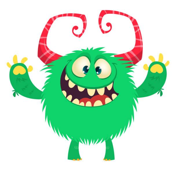 Lustige Cartoon Monster Lächeln und winken. Vektor-Illustration. – Vektorgrafik