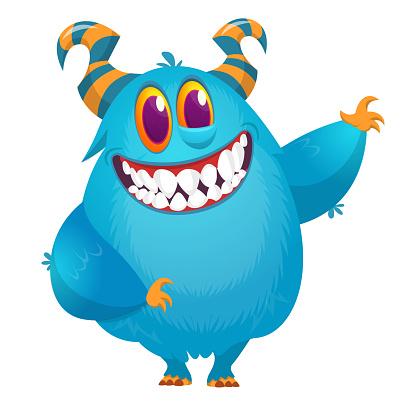 Funny cartoon monster. Vector Halloween illustration.