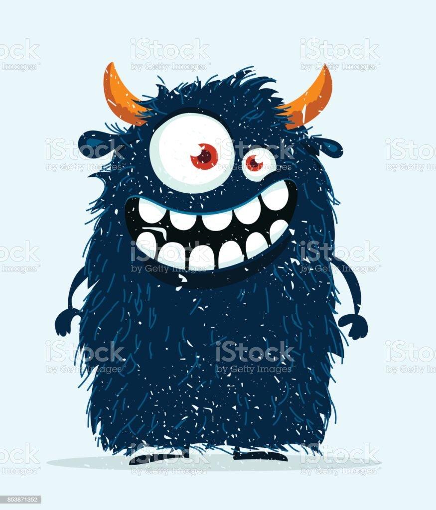 Funny cartoon monster. vector art illustration