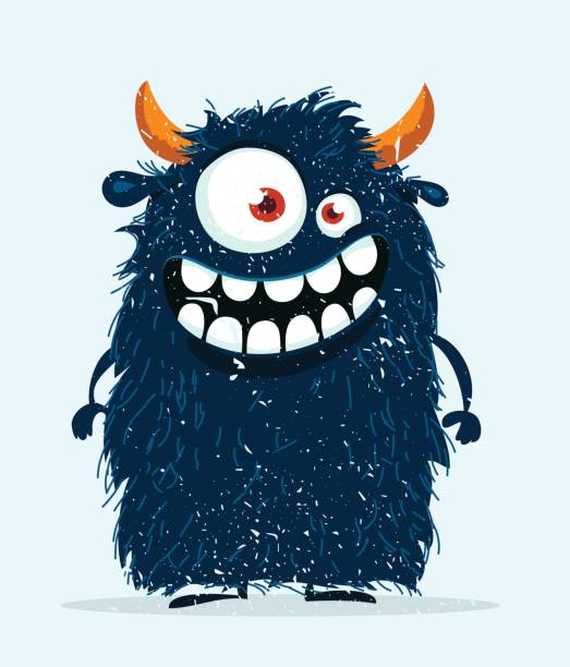ilustraciones, imágenes clip art, dibujos animados e iconos de stock de monstruo divertido de la historieta. - monstruo