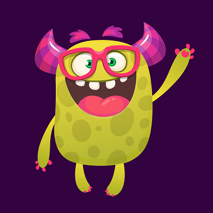 Funny cartoon monster with eyeglasses