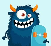 istock Funny cartoon monster with skateboard. 980958878