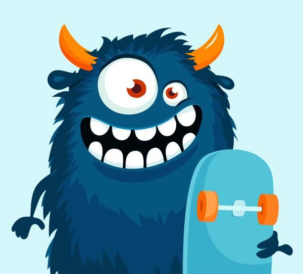 stockillustraties, clipart, cartoons en iconen met grappige cartoon monster met skateboard. - dierenhaar