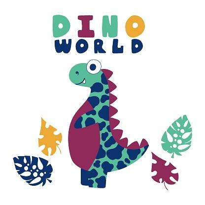 Funny cartoon motley dinosaur with jungle leaves stock vector illustration
