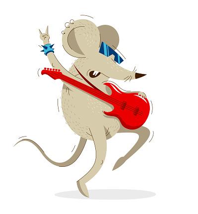 Funny cartoon mouse plays electric guitar like a rock star vector illustration, music hobby theme, humorous rat cartoon.