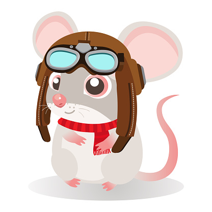 Funny cartoon mouse sitting in a retro leather aviator helmet on a white background.