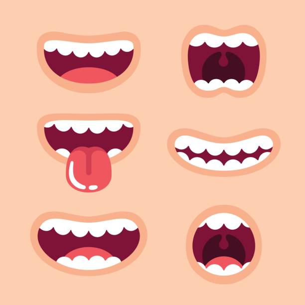 illustrazioni stock, clip art, cartoni animati e icone di tendenza di funny cartoon mouths set - denti