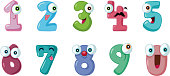Cute and funny colorful math symbols with faces