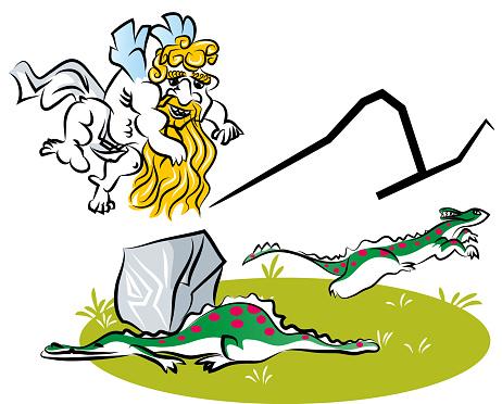 Funny cartoon of caveman cupid.