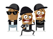 funny cartoon of gangster rappers