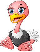 Funny cartoon ostrich sitting