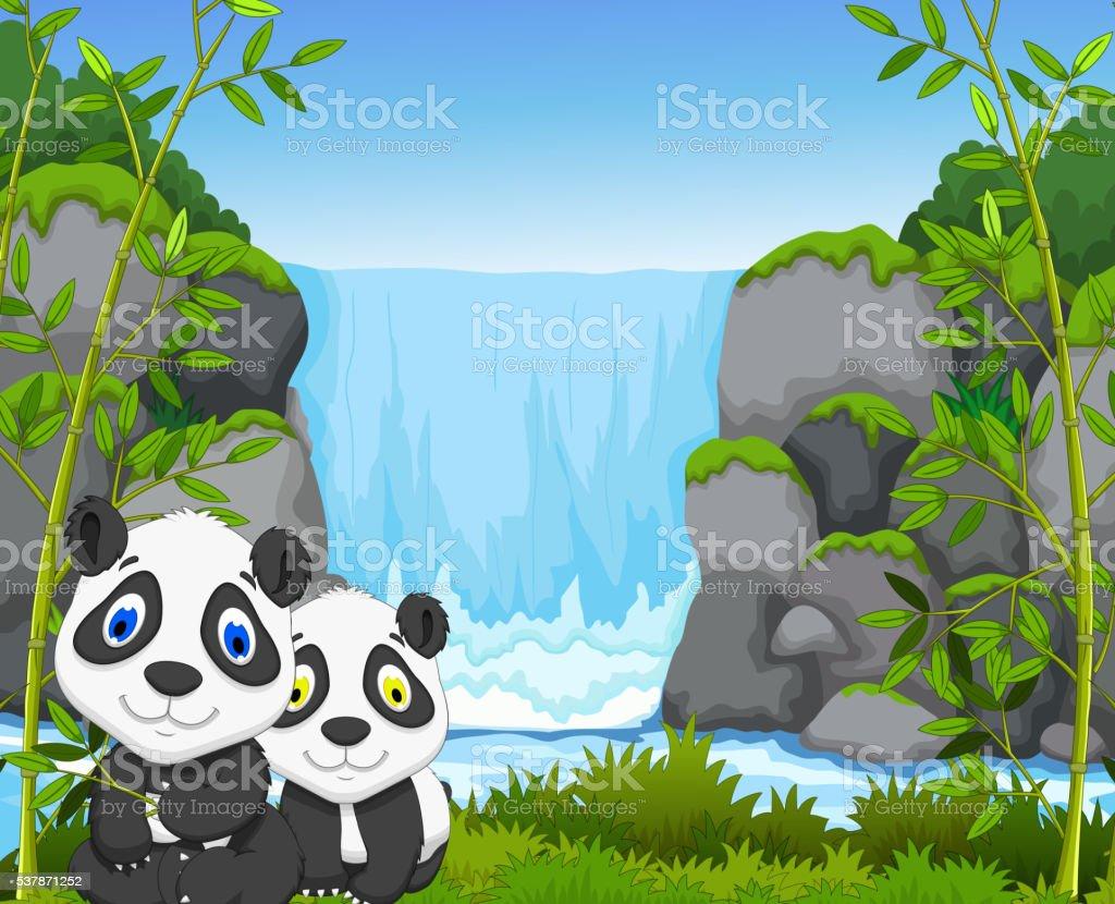 Lustiger Comicpanda Mit Wasserfall Und Bambuswaldhintergrund Stock